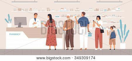 Smiling Cartoon Pharmacist And Clients In Counter At Pharmacy Vector Flat Illustration. Different Po