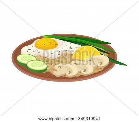Appetizing Thai Food Of Noodle With Scrambled Egg And Greenery Served On Ceramic Plate Side View Vec