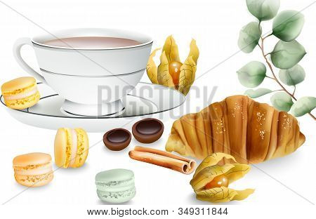 Delicious Croissant With Cinnamon Sticks, Macaron Sweets, Cape Gooseberry And Toffee Candy On Table