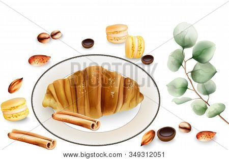 Delicious Croissant With Cinnamon Sticks, Macaron Sweets And Toffee Candy On Table