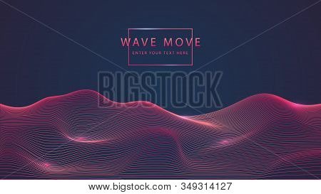 Abstract Technology Background Dyanmic Warp Wave Line 3d Grid Ground. Cyber Technology Ai Tech Wire