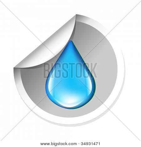 Sticker With Water Drop, Isolated On White Background, Vector Illustration