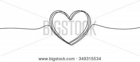 Heart Sketch Doodle, Vector Hand Drawn Heart In Tangled Thin Line Thread Divider Isolated On White B