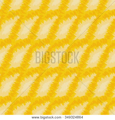 Geometric Abstract Yellow Seamless Tie Dye Vector Pattern. Sunny Warm Surface Print Design.