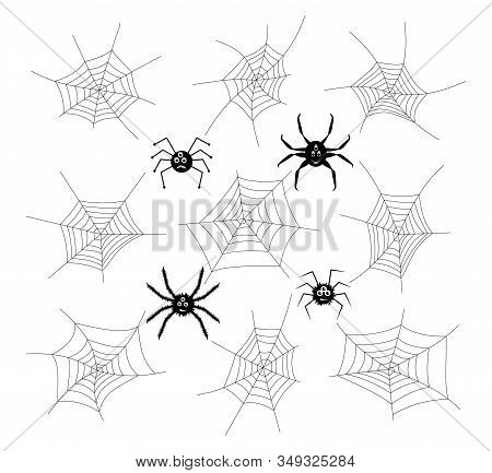 Vector Collection Of Cartoon Spiders And Webs Isolated On White Background. Spider Phobia Symbols