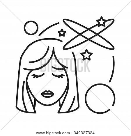 Vertigo Black Line Icon. Early Pregnancy Symptom. Pregnant Blond Woman And Brain Concept. Disease, F