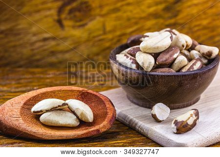Brazil Nut, With Shell. Culinary Ingredient From Brazil. The Brazil Nut Is Called