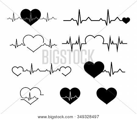 Heartbeat Line Icon Set. Heartbeat Sign In Flat Design. Heart Pulse. Line Vector Cardiograms Or Elec