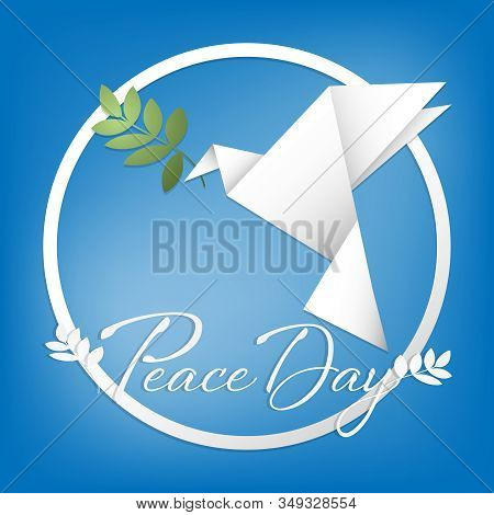 Pigeon With An Olive Branch Paper Origami Illustration On Blue Background. Origami Peace Dove For In