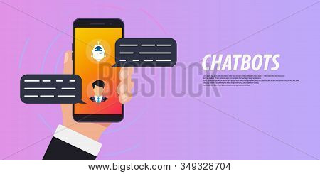 Chatbot Concept. Man Chatting With Chat Bot On Smartphone. Online Consultation. Clean Mobile Ui Desi