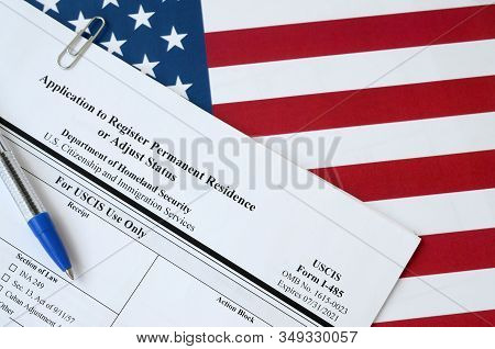 I-485 Application To Register Permanent Residence Or Adjust Status Blank Form Lies On United States