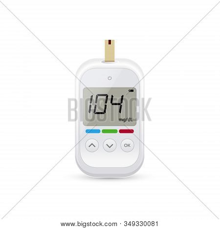 Glucose Sugar Test Icon. Glucometer Vector Blood Monitor. Diabetes Sugar Meter Insulin Control Devic