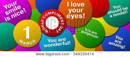 1 March World Compliment Day Design With Multicolored Circles With Compliments
