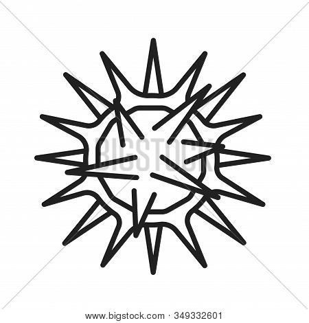 Virus Herpes Black Line Icon. Disease, Skin Rash Concept. Bacteria, Microorganism Sign. Pictogram Fo