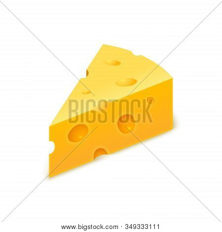 Vector Cheese Cheddar Piece. Slice Block Of Swiss Cheese. Triangle Realistic Isolated Yellow Icon