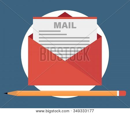 Mail Icon.simple Icon Letter. Flat Design Illustration With Icons. E-mai Marketing
