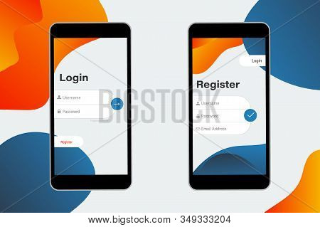 Login And Register On Screen. Log In And Sign Up Ui Ux On Smartphone Screen. Sign In Screen. Login A