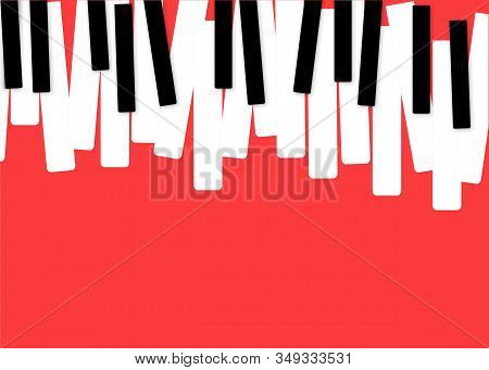 Piano Music Poster. Black And White Piano Keyboard. Music Symbol. Vector Piano Keys