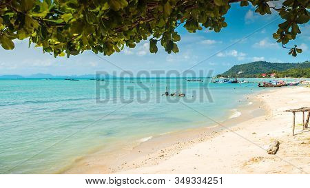 Authentic Thong Krut Beach With Thai Fishing Boats In Taling Ngam On A Day, Koh Samui, Thailand