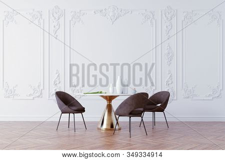3d render of beautiful interior with table and chairs