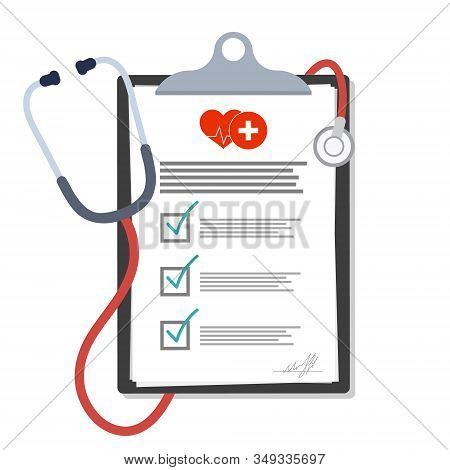 Medical Clipboard. Blank Paper In Clipboard With Stethoscope, Medical Concept. Medical Document. Hea