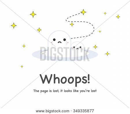 Error 404 Page Not Found Concept Illustration, Webpage Banner, Search Result Message.404 Symbol On C