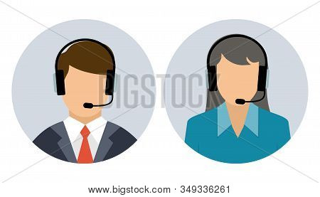 Operator Of Call Center And Customer Service. Male And Female Call Center Avatar Icons With A Facele