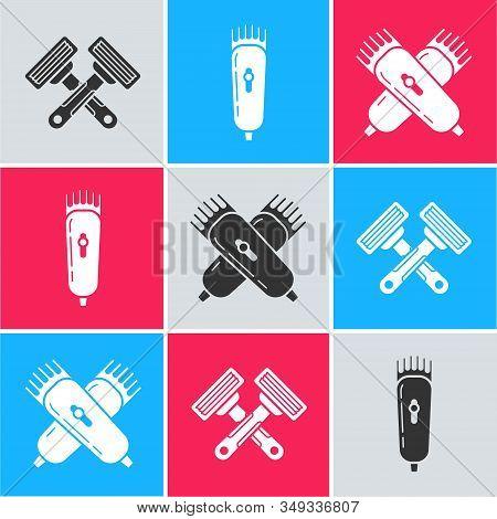 Set Crossed Shaving Razor, Electrical Hair Clipper Or Shaver And Crossed Electrical Hair Clipper Or