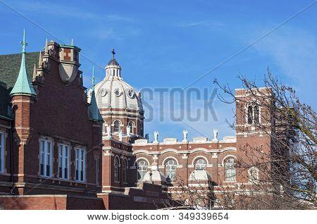 Landmark Church Of Renaissance Style Architecture In Bucktown Neighborhood Of Chicago Illinois