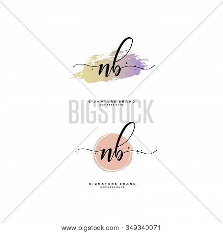 N B Nb Initial Letter Handwriting And  Signature Logo. A Concept Handwriting Initial Logo With Templ