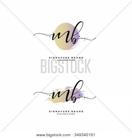 M B Mb Initial Letter Handwriting And  Signature Logo. A Concept Handwriting Initial Logo With Templ