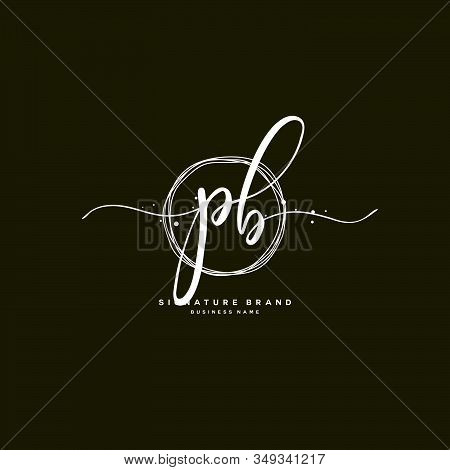 P B Pb Initial Letter Handwriting And  Signature Logo. A Concept Handwriting Initial Logo With Templ