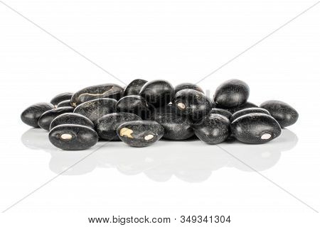 Lot Of Whole Black Bean Heap Isolated On White Background