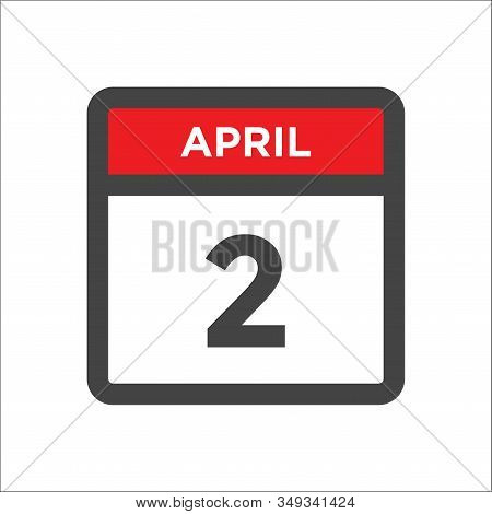 April 2 Calendar Icon With Day And Month