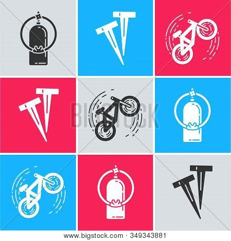 Set Aqualung, Pegs For Tents And Bicycle Trick Icon. Vector