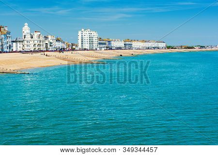 Eastbourne, East Sussex, Uk - May 23 : View Of Eastbourne Town Seafront, Houses And Beach From The P