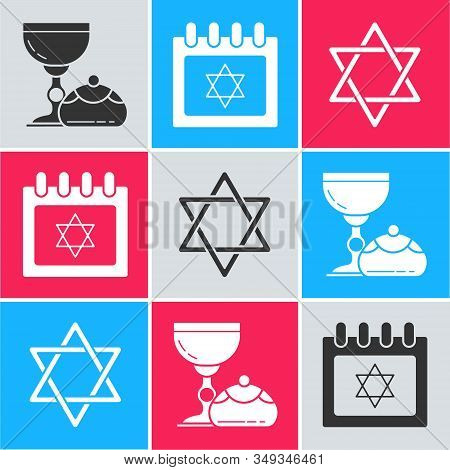 Set Jewish Goblet And Hanukkah Sufganiyot, Jewish Calendar With Star Of David And Star Of David Icon