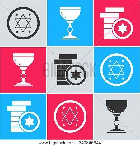 Set Jewish Coin, Jewish Goblet And Jewish Coin Icon. Vector