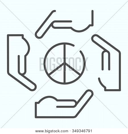 Hands Around Peace Symbol Thin Line Icon. Peace Symbol In Center Of Four Hands Vector Illustration I
