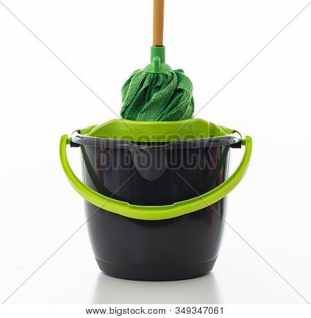 Cleaning Mop Bucket Green Black Color Isolated Against White Background,