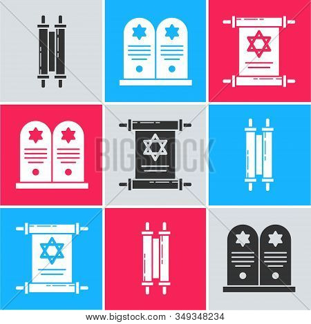 Set Torah Scroll, Tombstone With Star Of David And Torah Scroll Icon. Vector