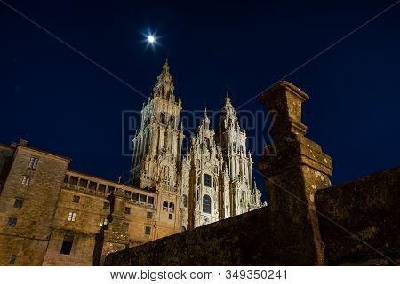 Santiago De Compostela Cathedral View At Night. Obradoiro Square, Galicia, Spain. Copy Space