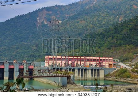 Aerial View Of Teesta Hydro Electric Power Plant, Combined Cycle Power Plant Electricity Generating
