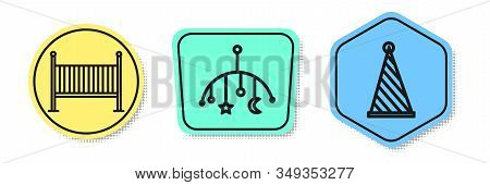 Set Line Baby Crib Cradle Bed, Baby Crib Hanging Toys And Party Hat. Colored Shapes. Vector