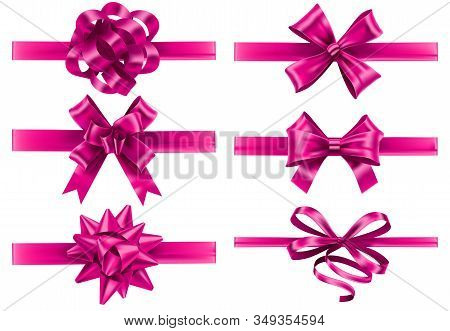 Realistic Pink Ribbons With Bows. Festive Wrapping Bow, Pinks Silk Ribbon And Valentines Day Gifts D