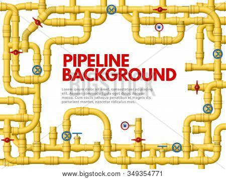 Industrial Yellow Pipeline. Pipeline Frame, Yellow Pipes For Gas Or Oil Vector Background Illustrati