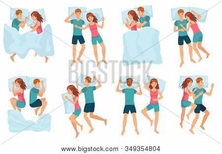 Couple Sleeps In Different Poses. Man And Woman Sleeping Together, Couple In Bed And Healthy Night S