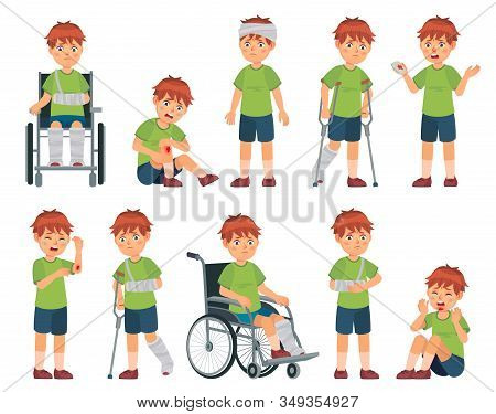 Kid With Injury. Boy Bruised Hand, Broke Leg And Arm. Injuries Head, Sport Injuries And Wheelchair V