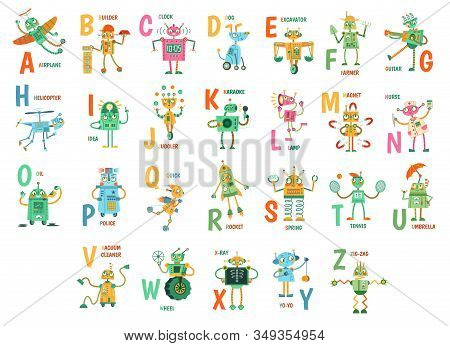 Cartoon Robots Alphabet. Funny Robot Characters, Abc Letters For Kids And Education Poster With Robo