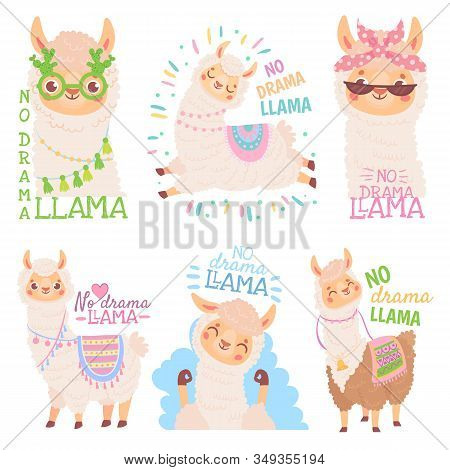 No Drama Llama. Funny Llamas Or Cute Alpacas Quote, Happy Mexican Alpaca Vector Illustration Set. Co